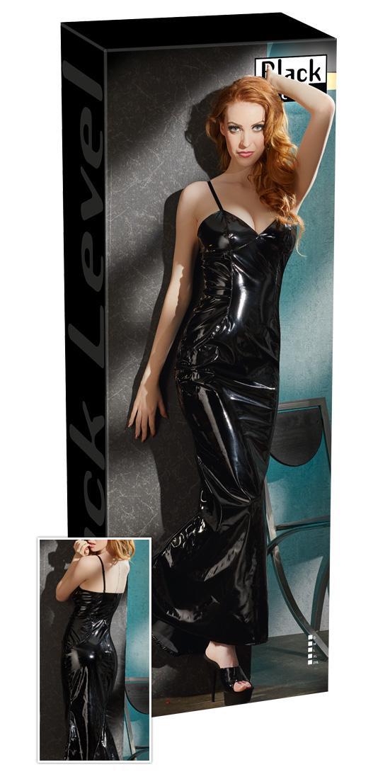 Black Level Lack-Kleid Erotik schwarz Mini Lang Glanz ...