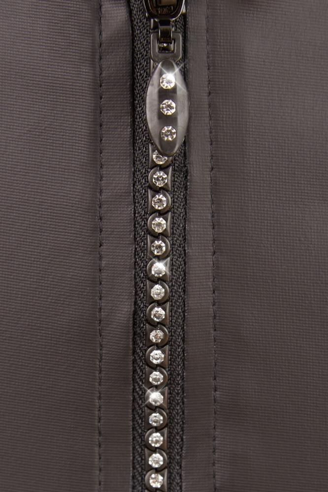 XL matt glänzend Cotelli Top und Rock mit Strass-Reißverschluss schwarz S