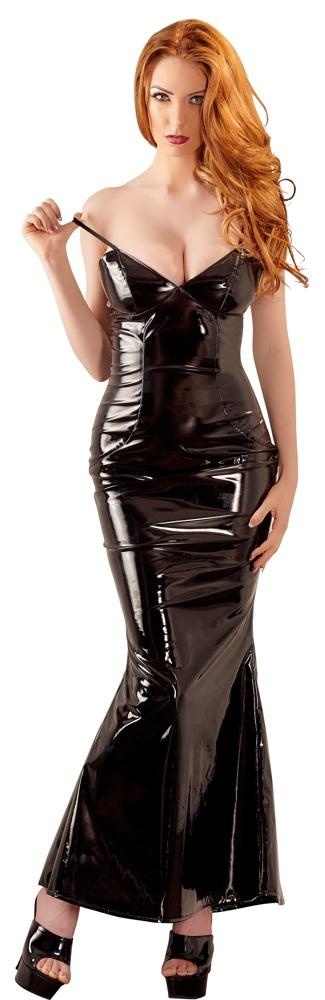 Schwarzes Lack-Minikleid Black Level Spitze Schnalle Vinyl mini dress L XL 2XL