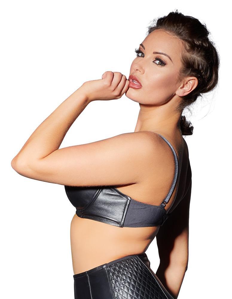 sexy cuir en Body Similicuir Soutien Ladies noir Bustier Swinger Lingerie gorge qz6U8v